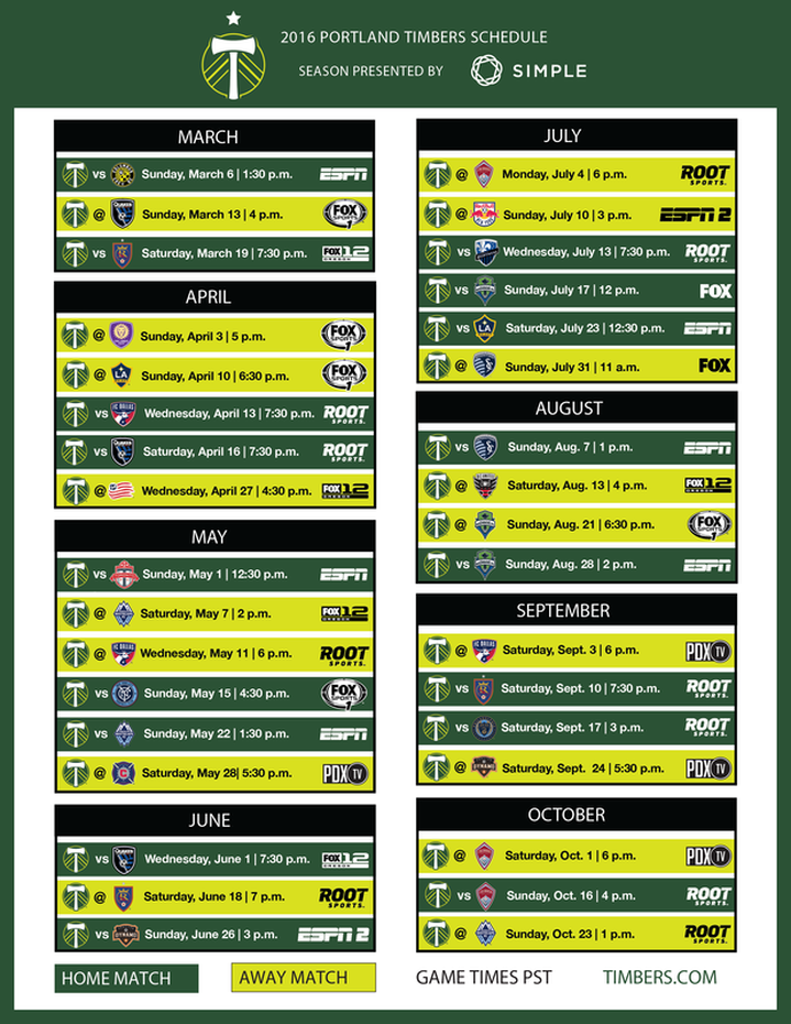 Portland Timbers 2016 Schedule